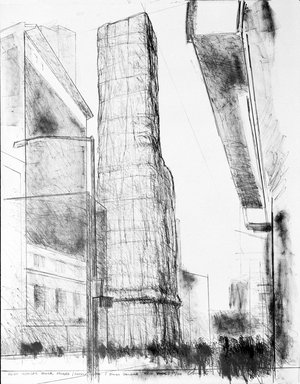 Christo (American, born Bulgaria, 1935). Allied Chemical Tower, Rear from Some Not Realized Projects, 1971. Lithograph in color, Sheet: 28 x 22 in. (71.1 x 55.9 cm). Brooklyn Museum, National Endowment for the Arts and Bristol-Myers Fund, 72.111. © Christo