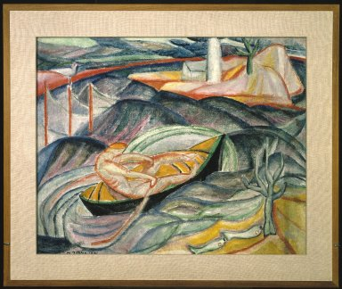 Marguerite Thompson Zorach (American, 1887-1968). Skiff in Waves (recto) and Figures in Landscape (verso), 1913-1914. Oil on canvas, recto: 25 3/4 x 32 1/4 in. (65.4 x 81.9 cm). Brooklyn Museum, Gift of Mr. and Mrs. Tessim Zorach, 72.136a-b