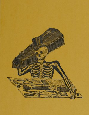 Manuel Manilla (Mexican, 1830-1895). Skeleton Undertaker, printed and published 1971. Relief engraving on paper, 14 7/8 x 11 in. (37.8 x 27.9 cm). Brooklyn Museum, Designated Purchase Fund, 72.141.12