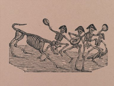 Manuel Manilla (Mexican, 1830-1895). Skeleton Bull Fighters, printed and published 1971. Relief engraving on paper, 14 7/8 x 11 in. (37.8 x 27.9 cm). Brooklyn Museum, Designated Purchase Fund, 72.141.5