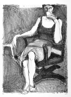 Richard Diebenkorn (American, 1922-1993). Seated Woman Drinking from Cup, 1965. Lithograph, Sheet: 30 x 22 1/8 in. (76.2 x 56.2 cm). Brooklyn Museum, National Endowment for the Arts and Bristol-Myers Fund, 72.144. © The Estate of Richard Diebenkorn