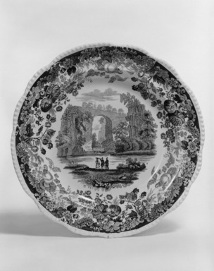 "Enoch Wood & Sons (1819-1846). Plate, ""Natural Bridge, Virginia,"" ca. 1840. Earthenware, 9 3/16 x 9 3/16 in. (23.3 x 23.3 cm). Brooklyn Museum, Gift of Mrs. Ben P. Grant in memory of Dr. and Mrs. Henry Fleming Payne, 72.184.11. Creative Commons-BY"
