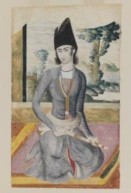 Seated Qajar Prince, late 18th-19th century. Pencil and opaque watercolor on paper, 11 1/2 x 7 in. (29.2 x 17.8 cm). Brooklyn Museum, Gift of Mr. and Mrs. Charles K. Wilkinson, 72.26.6
