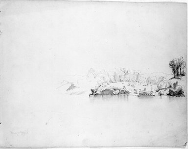 William Trost Richards (American, 1833-1905). River Scene, May 15, 1853. Graphite on paper, Sheet: 9 3/16 x 12 in. (23.3 x 30.5 cm). Brooklyn Museum, Gift of Edith Ballinger Price, 72.32.18