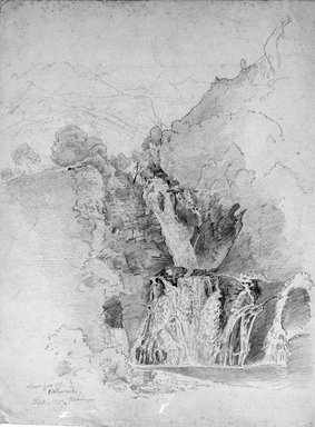 William Trost Richards (American, 1833-1905). Waterfall, September 10, 1867. Graphite on gray paper, Sheet: 12 1/4 x 9 5/16 in. (31.1 x 23.7 cm). Brooklyn Museum, Gift of Edith Ballinger Price, 72.32.24