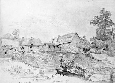 William Trost Richards (American, 1833-1905). Cottages, June 15, 1867. Graphite on paper, Sheet: 8 13/16 x 12 in. (22.4 x 30.5 cm). Brooklyn Museum, Gift of Edith Ballinger Price, 72.32.27