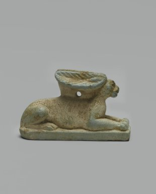 Amulet of Rabbit, ca. 664-30 B.C.E. Faience, glazed, H: 2.7 cm, H. of base: c. 0.5 cm; length 4.6 cm, L. of fig. 4.5 cm, L. of ears: 2.2 cm; width 5.0 cm. Brooklyn Museum, Gift of Mr. and Mrs. Carl L. Selden through The Roebling Society, 72.38. Creative Commons-BY