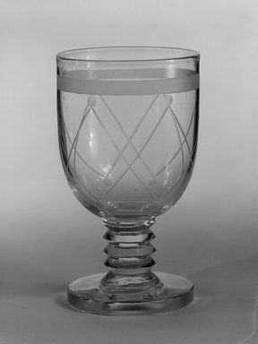 "Steuben Glass, a division of Corning Glass Works, 1903-2011. Goblet, ""St. Tropez,""  Part of Nine-Piece Setting, ca. 1933. Glass, 5 5/8 x 3 1/8 x 3 1/8 in. (14.3 x 7.9 x 7.9 cm). Brooklyn Museum, H. Randolph Lever Fund, 72.40.21. Creative Commons-BY"