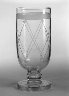 """Steuben Glass, a division of Corning Glass Works, 1903-2011. Goblet, """"St Tropez,""""  Part of Nine-Piece Setting, ca. 1933. Glass, 6 3/4 x 2 7/8 x 2 7/8 in. (17.1 x 7.3 x 7.3 cm). Brooklyn Museum, H. Randolph Lever Fund, 72.40.22. Creative Commons-BY"""
