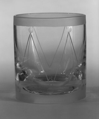 "Steuben Glass, a division of Corning Glass Works, 1903-2011. Double Old Fashioned Glass, ""St Tropez,""  Part of Nine-Piece Setting, ca.1933. Glass, 3 1/2 x 3 x 3 in. (8.9 x 7.6 x 7.6 cm). Brooklyn Museum, H. Randolph Lever Fund, 72.40.24. Creative Commons-BY"
