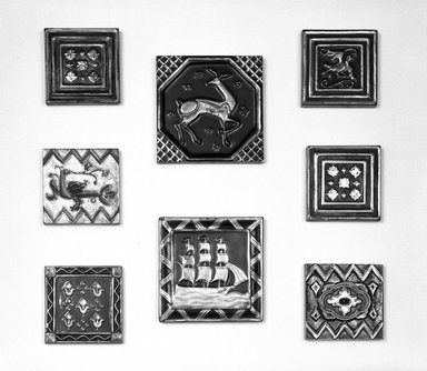American Encaustic Tile Company Ltd. (1875-1935). Square Tile, ca. 1928. Earthenware, 4 7/16 x 4 7/16 x 5/8 in. (11.3 x 11.3 x 1.6 cm). Brooklyn Museum, H. Randolph Lever Fund, 72.40.13. Creative Commons-BY
