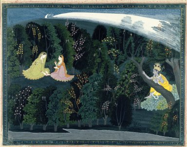 """Indian. Krishna Gazes Longingly at Radha, Page from the """"Lumbagraon Gita Govinda"""" Series, ca. 1820-1825. Opaque watercolor and gold on paper, sheet: 11 1/8 x 14 3/8 in.  (28.3 x 36.5 cm). Brooklyn Museum, Designated Purchase Fund, 72.43"""