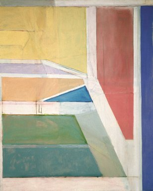 Richard Diebenkorn (American, 1922-1993). Ocean Park No. 27, 1970. Oil and charcoal on canvas, 100 x 80 in., 41 lb. (254 x 203.2 cm, 18.6kg). Brooklyn Museum, Gift of The Roebling Society and Mr. and Mrs. Charles H. Blatt and Mr. and Mrs. William K. Jacobs, Jr., 72.4. © The Estate of Richard Diebenkorn