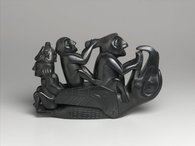 Haida (Native American). Figural Group: Raven Surmounted by Three Seated Figures, 1860-1880. Argillite, 10 x 15 1/2 x 3 3/4 in. (25.4 x 39.4 x 9.5 cm). Brooklyn Museum, By exchange, 72.5.1. Creative Commons-BY