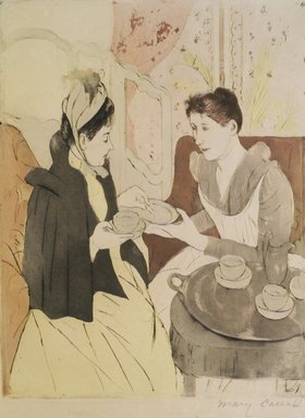 Mary Cassatt (American, 1844-1926). Afternoon Tea Party, 1891. Drypoint and aquatint in color on wove paper, Sheet: 18 3/4 x 12 in. (47.6 x 30.5 cm). Brooklyn Museum, Frank L. Babbott Fund and Bristol-Myers Fund, 72.7