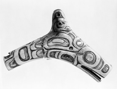 Tlingit (Native American). Shaman's Charm or Soul Catcher, late 19th or early 20th century. Bone or Ivory, abalone shell, 9 1/2 x 6 x 1 1/4 in.  (24.1 x 15.2 x 3.2 cm). Brooklyn Museum, By exchange, 73.110. Creative Commons-BY