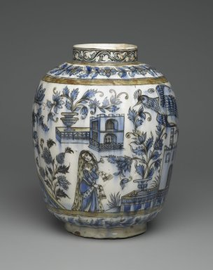 Vase with Architectural, Figural, and Floral Designs, 19th century. Ceramic; fritware, painted in black, cobalt blue, and green under a transparent glaze, 13 1/4 x 11 in. (33.6 x 28 cm). Brooklyn Museum, Designated Purchase Fund, 73.144.2. Creative Commons-BY