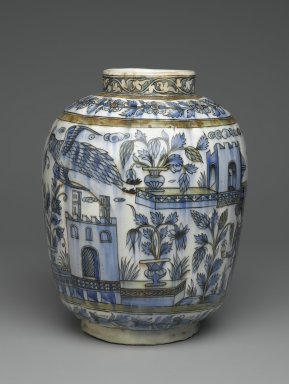 Vase with Architectural, Figural, and Floral Designs