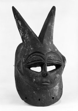 Edo. Face Mask with Two Horns, late 19th or early 20th century. Wood, pigment, metal, 12 1/2 x 6 1/4 x 5 1/4 in. Brooklyn Museum, Gift of Dr. and Mrs. Abbott A. Lippman, 73.154.11. Creative Commons-BY