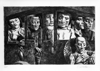 Federico Castellon (American, born Spain, 1914-1971). Kunming Bus (from China Portfolio), after 1945. Etching and aquatint, Sheet: 12 5/16 x 15 in. (31.3 x 38.1 cm). Brooklyn Museum, Gift of Leon Pomerance, 73.160.1a. © Estate of Hilda Castellon (widow and heir of Federico Castellon)
