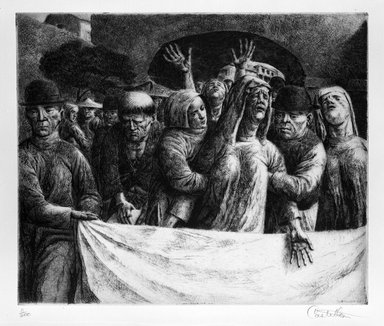 Federico Castellon (American, born Spain, 1914-1971). The Bereaved (from China Portfolio), after 1945. Etching and aquatint, Sheet: 12 5/8 x 14 7/8 in. (32.1 x 37.8 cm). Brooklyn Museum, Gift of Leon Pomerance, 73.160.1h. © Estate of Hilda Castellon (widow and heir of Federico Castellon)