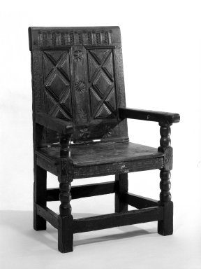 Wainscot Armchair, ca. 1600-1650. Oak, 42 1/2 x 24 3/4 in. (108 x 62.9 cm). Brooklyn Museum, Gift of Marbeth Settles, 73.18. Creative Commons-BY