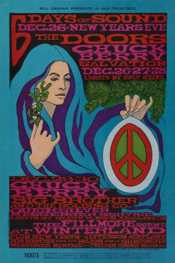 Bonnie MacLean (American, born 1949). [Untitled] (The Doors/Chuck Berry), 1967. Offset lithograph on paper, sheet: 21 1/16 x 14 in. (53.5 x 35.6 cm). Brooklyn Museum, Designated Purchase Fund, 73.39.100. ©Bill Graham Archives, LLC, www.Wolfgangsvault.com