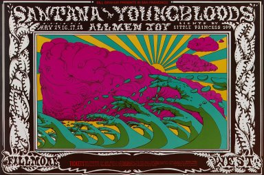 Lee Conklin (American, born 1941). [Untitled] (Santana/Youngbloods...), 1969. Offset lithograph on paper, sheet: 14 1/16 x 21 3/16 in. (35.7 x 53.8 cm). Brooklyn Museum, Designated Purchase Fund, 73.39.172. ©Bill Graham Archives, LLC, www.Wolfgangsvault.com