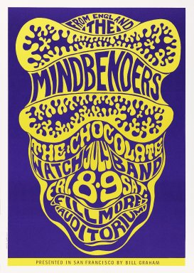Wes Wilson (American, born 1937). [Untitled] (The Mindbenders), 1966. Offset lithograph on paper, sheet: 19 3/4 x 13 15/16 in. (50.2 x 35.4 cm). Brooklyn Museum, Designated Purchase Fund, 73.39.17. © Wes Wilson