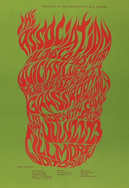 Wes Wilson (American, born 1937). [Untitled] (The Association), 1966. Offset lithograph on paper, sheet: 20 1/8 x 13 7/8 in. (51.1 x 35.2 cm). Brooklyn Museum, Designated Purchase Fund, 73.39.19. © Wes Wilson