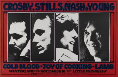 Randy Tuten (American, born 1946). [Untitled] (Crosby, Stills, Nash & Young), 1969. Offset lithograph on paper, sheet: 14 x 21 7/16 in. (35.6 x 54.5 cm). Brooklyn Museum, Designated Purchase Fund, 73.39.200. ©Bill Graham Archives, LLC, www.Wolfgangsvault.com