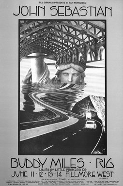 David Singer (American, born 1941). [Untitled] (John Sebastian/Buddy Miles/Rig), 1970. Offset lithograph on paper, sheet: 21 x 14 in. (53.3 x 35.6 cm). Brooklyn Museum, Designated Purchase Fund, 73.39.232. © Bill Graham Archives, LLC, www.Wolfgangsvault.com