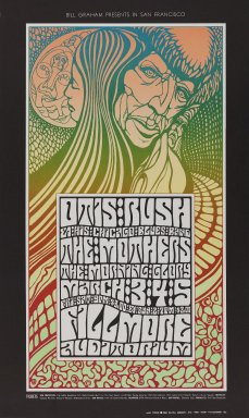 Wes Wilson (American, born 1937). [Untitled] (Otis Rush/The Mothers), 1967. Offset lithograph on paper, sheet: 22 3/8 x 13 7/16 in. (56.8 x 34.1 cm). Brooklyn Museum, Designated Purchase Fund, 73.39.55. ©Bill Graham Archives, LLC, www.Wolfgangsvault.com
