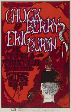 Greg Irons (American, 1947-1984). [Untitled] (Chuck Berry/Eric Burdon/The Animals...), 1967. Offset lithograph on paper, sheet: 21 1/2 x 13 15/16 in. (54.6 x 35.4 cm). Brooklyn Museum, Designated Purchase Fund, 73.39.72. ©Bill Graham Archives, LLC, www.Wolfgangsvault.com