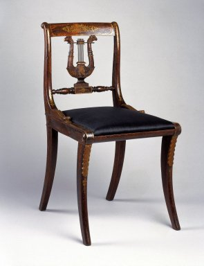 Charles-Honoré Lannuier (American, born France, 1779-1819). Side Chair, ca 1815. Beech, 32 3/4 x 17 3/4 in. (83.2 x 45.1 cm). Brooklyn Museum, Purchased with funds given by Eric M. Wunsch and the H. Randolph Lever Fund, 73.48.1. Creative Commons-BY