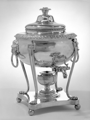 Tea Urn with Cover, ca. 1820. Silver, 15 1/2 x 11 x 23 in., 139 lb. (39.4 x 27.9 x 58.4 cm, 63.1kg). Brooklyn Museum, H. Randolph Lever Fund, 73.81a-b. Creative Commons-BY
