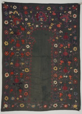 Prayer Hanging, 19th century. Silk embroidery on cotton, 40 15/16 x 56 3/16 in. (104 x 142.7 cm). Brooklyn Museum, Special Middle Eastern Art Fund, 73.90.2. Creative Commons-BY