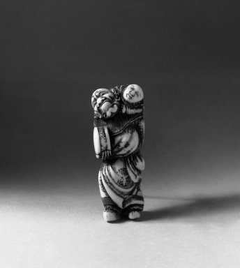 Netsuke Depicting Dancer and Karako, 18th century. Ivory, 2 1/16 x 3/4 x 3/4 in. (5.2 x 1.9 x 1.9 cm). Brooklyn Museum, Gift of Mr. and Mrs. Burton Krouner, 74.103.47. Creative Commons-BY
