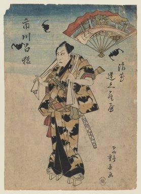 Shigeharu (1803-1853). The Actor Ichikawa Hakuen in a Kabuki Role, ca. 1830. Woodblock print, 14 1/4 x 10 1/4 in. (36.2 x 26 cm). Brooklyn Museum, Gift of Dr. Israel Samuelly, 74.104.2