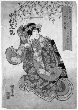 Kunihiro (Japanese, active 1816- ca.1841). The Actor Nakamura Shikan II in a Female Role, ca. 1830. Woodblock print, 14 3/4 x 10 1/4 in. (37.5 x 26 cm). Brooklyn Museum, Gift of Dr. Israel Samuelly, 74.104.8