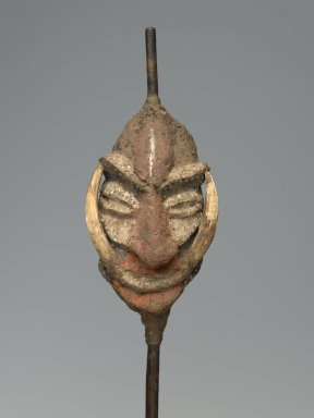 Malakula. Dance Staff, late 19th or early 20th century. Wood, tree fern, vegetal-fiber paste, boar tusks, pigment, 22 x 5 x 4 in. (55.9 x 12.7 x 10.2 cm). Brooklyn Museum, Gift of Marcia and John Friede, 74.121.10. Creative Commons-BY
