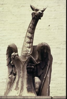 Unknown American. Winged Dragon Chimera, ca. 1900. Limestone, 63 1/2 x 26 x 28 in. (161.3 x 66 x 71.1 cm). Brooklyn Museum, Gift of G.C. O'Brien, Inc. in memory of G.C. O'Brien, 74.168. Creative Commons-BY