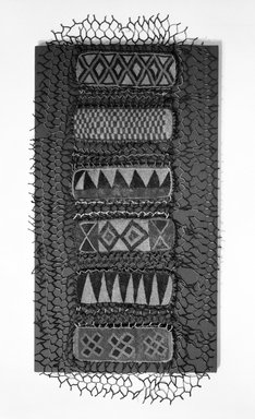 Yoruba. Shrine Cover. beaded panels, red and blue cotton print, 44 x 19 1/4 in.  (111.8 x 48.9 cm). Brooklyn Museum, Gift of Dr. and Mrs. Ernst Anspach, 74.171.2. Creative Commons-BY