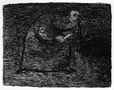 Ernst Barlach (German, 1870-1938). Thinking of Murder (Auf Mord bedacht), 1912. Lithograph on heavy wove paper with deckled edges, Image: 9 x 11 3/8 in. (22.9 x 28.9 cm). Brooklyn Museum, Gift of Mr. and Mrs. Samuel Dorsky, 74.178.3