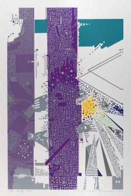 Kimura Risaburo (Japanese, born 1924). City 148, 1971. Screenprint, Image: 26 5/8 x 16 7/8 in. (67.6 x 42.9 cm). Brooklyn Museum, Gift of Mr. and Mrs. Samuel Dorsky, 74.178.47. © Risaburo Kimura