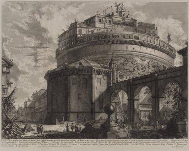 "Giovanni Battista Piranesi (Italian, Venetian, 1720-1778). ""Castello S. Angelo"" (Veduta Mausoleo d'Elio Adriano). Etching on laid paper, Image: 17 3/8 x 22 1/8 in. (44.1 x 56.2 cm). Brooklyn Museum, Gift of Mr. and Mrs. Samuel Dorsky, 74.178.60"