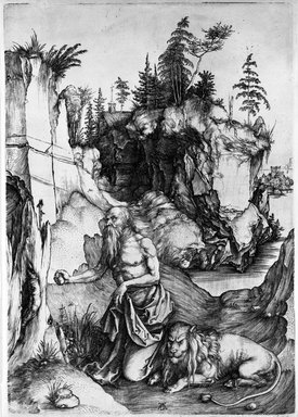 Albrecht Dürer (German, 1471-1528). St. Jerome in the Desert, 1495-1497. Engraving on laid paper, Sheet: 12 3/8 x 8 7/8 in. (31.4 x 22.5 cm). Brooklyn Museum, Anonymous gift, 74.180