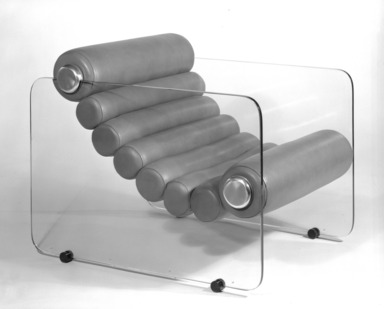 "Fabio Lanci (Italian, born 1935). ""Hyaline"" Adjustable Lounge Chair, ca. 1968. Colorless glass, stainless steel, urethane rolls, leather, 28 x 27 1/2 x 35 1/2 in. (71.1 x 69.9 x 90.2 cm). Brooklyn Museum, Gift of Stendig, Inc., 74.194.3. Creative Commons-BY"