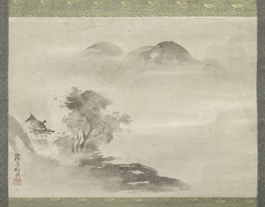 Watanabe Shiko (Japanese, 1683-1755). Landscape, 18th century. Hanging scroll, ink on paper, Image: 13 x 17 1/2 in. (33 x 44.5 cm). Brooklyn Museum, Gift of Mrs. Harold G. Henderson in memory of Professor Harold G. Henderson, 74.201.3