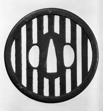 Tsuba (Sword Guard), 17th-18th century. Black-patinated iron  Iron; traces of gold, 3 3/8 in. (8.5 cm). Brooklyn Museum, Gift of Leighton R. Longhi, 74.202.12. Creative Commons-BY